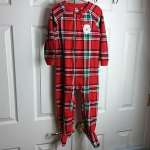 Child of Mine Plaid Santa Footed Pajamas Sz 3T